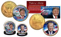 DONALD TRUMP 45th Pres. DC Quarter & JFK Half Dollar 24K Gold Plated 2-Coin Set