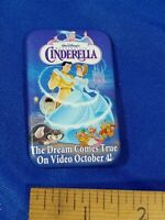 Cinderella PINBACK VIDEO VTG VHS PROMO STORE Disney 90s Dream Comes True Oct 4th