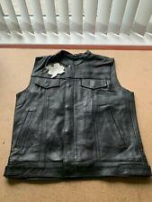Leather Waistcoat Motorcycle Motorbike Black Biker Cut Vest Sons of Anarchy - M