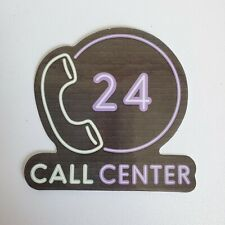 "Call Center Sign Sticker 2.5"" x 2.5"" Neon Computer Scrapbook Water Bottle"