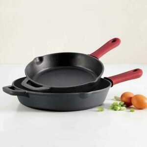 2 PIECE Tramontina Pre-Seasoned Cast Iron Skillets 12 & 10 inch Grill 1136435