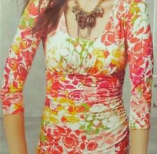 CAbi 3/4 Sleeve Top Womens M Ruched Sides 308 Stretch Floral Multi Color -C