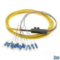 3M 12 Fiber LC UPC Flat Fiber Optic Single Mode Optical Cable Pigtail Yellow