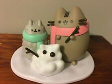 Pusheen Cat Gray Cats Snowman Cold Winter Figurines