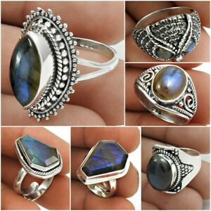 Natural Labradorite Gemstone 925 Sterling Silver Ethnic Ring Jewelry US Size 6