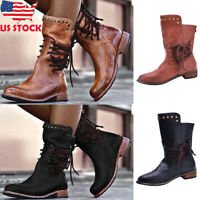 Women Vintage Back Zipper Mid-Calf Boots Ladies Lace Up Low Chunky Heel Shoes US