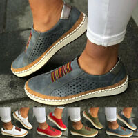 Women's Fashion Casual Hollow-Out Round Toe Slip On Flat Sneakers Shoes Size