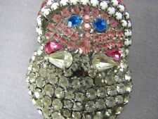 Rare Signed Dorothy Bauer Rhinestone 3D Vintage Santa Clause Face Pin Pendant