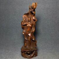 "8"" China old Antique Boxwood hand carved  Lotus leaf belle statue"