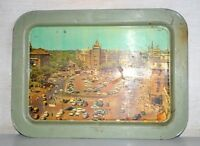 Old Collectible Vintage Victoria Terminal Mumbai Print Litho Tin Serving Tray