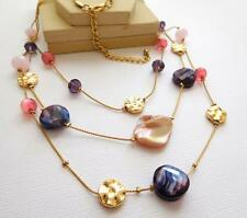 Abalone Shell Pink Purple Moonglow Bead Layered Multi-Chain Gold Necklace B19