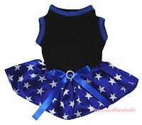 Plain USA 4th July Cotton Black Top Blue Patriotic Star Pet Dog Puppy Cat Dress