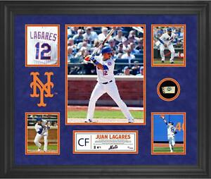Juan Lagares NY Mets Framed 5-Photo Collage w/ a Piece of Game-Used Baseball