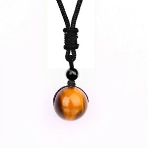 Natural Crystal Tiger Eye Ball Necklace Pendant Chakra Stone Gemstone 16mm