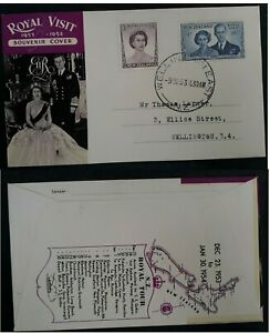 1953 New Zealand Royal Visit FDC ties 2 stamps cancelled Wellington