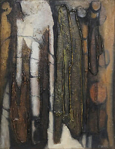 JOAN BECK (1916-) RARE Oil Divided 1964 Abstract Mid Century Modern Retro