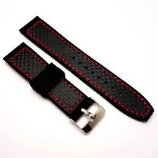 22mm Carbon Fibre Fabric Top Black/Red Silicone Watch Strap With 2 Spring Bar