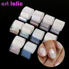 10 Holographic Nail Art Foil Set Gradient Transparent AB Color Transfer Sticker