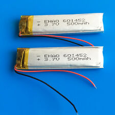 2 pcs 3.7V 500mAh Li Po Battery For MP3 MP4 GPS Smart Watch Speaker PSP 601452