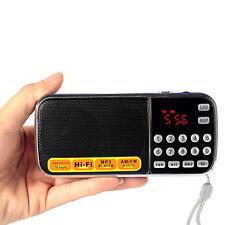 Pocket Digital FM AM Radio MP3 Player Multimedia Speaker w/ Flashlight Blue HOT