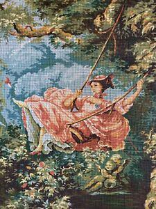 Margot l'escarpolette Fragonard Tapestry Embroidery canvasold fashioned swing