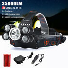 35000LM 5x XM-L T6 LED Headlamp Headlight Flashlight Head Lamp Charger Set Eager