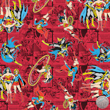 122000029 - New Girl Power II Ruby Comics Fabric Wonder Woman Supergirl Batgirl