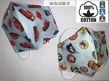 PACK 2 Mascherina Mascherine Bambini bambino Disney CARS 100% Cotone Lavab.