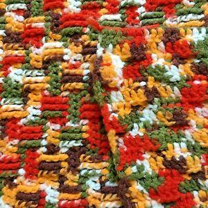Handmade Knit Crochet Afghan Throw Lap Blanket Boho Funky Fall Confetti Colors