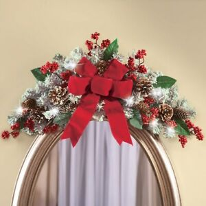 LED Lighted Frosted Pine & Berries Floral Christmas Swag w/ Big Red Bow