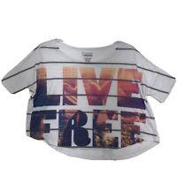 Freeze LIVE FREE Cropped Tee T Shirt Womens Sz L Large Graphic Burnout *Read*