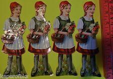 "Vintage Die Cut 4 SWISS Scrap Paper Glanzbilder Oblaten-Heidi Red Riding Hood 7"""