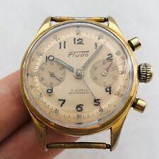 ULTRA RARE FLUDO CHRONOGRAPH Landeron Vintage Men Gold Plated Watch Wrist Swiss