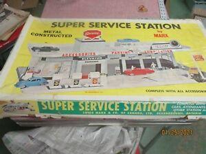 Vintage Marx Super Metal Service Station Playset in Box Unbuilt  #3475