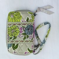 Vera Bradley Watercolor Zip Around Wristlet Small Wallet Gray Purple Floral
