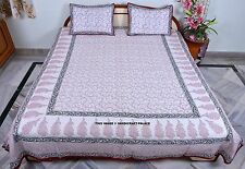 Cotton Queen Floral Style Coverlet Bed Spreads 3 PC Set- White/Red Indian Throw