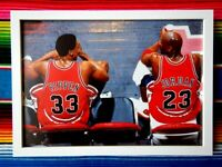 ✺Framed✺ MICHAEL JORDAN & SCOTTIE PIPPEN Chicago Bulls NBA Poster 45 x 32 x 3cm