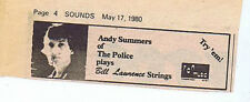 ANDY SUMMERS / POLICE / BILL LAWRENCE STRINGS  press clipping 1980 (17/05/80)