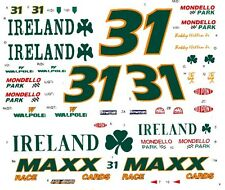 #31 Bobby Hillin jr Team Ireland 1/64th - HO Scale Scale Slot Car Decals
