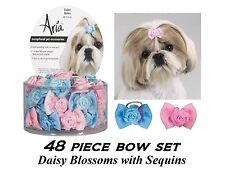 48 ct DOG Pink&Blue Grosgrain Ribbon DAISY BLOSSOM w/Sequins BOWS HAIR Top Knot
