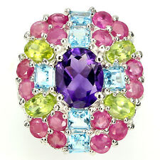 GORGEOUS! NATURAL AMETHYST,PERIDOT,SWISS BLUE TOPAZ,RUBY 925 SILVER RING SIZE 8