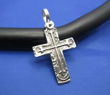 "Sterling Silver Unique Artisan Handcrafted Custom Cross Pendant (1.5"" x 0.75"")"