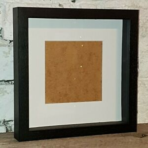 Quality Black Wooden Square Deep Shadow Box Frame with mount 23cm x 23cm (2040)