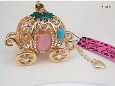 Betsey Johnson Necklace CINDERELLA  Pumpkin Carriage GOLD Crystals