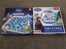 DISNEY DRAUGHTS & FROZEN SNAKES & LADDERS Board Games Complete Trefl Freepost