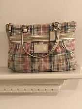 Authentic Coach Poppy F21956 Daisy Signature Madras Pink Plaid Tote Shoulder Bag