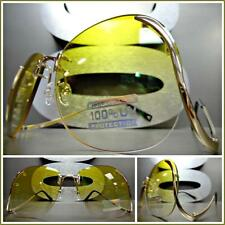 OVERSIZED VINTAGE 70's RETRO Style SUNGLASSES Upside Down Gold Frame Yellow Lens