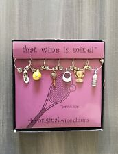 Wine Things Unlimited Tennis Ace, 6 Painted Wine Charms, Multi-Colored