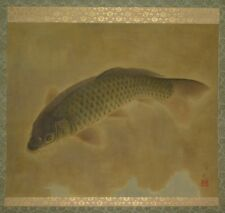 Hanging Scroll Japanese Painting Carp Japan Asian Old ink Antique Picture u53