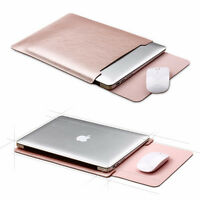 """US Universal Leather Sleeve Bag Cover Case For 11"""" 13"""" 14"""" 15"""" Laptop Rose Gold"""